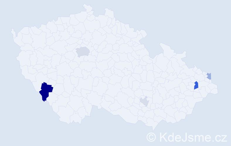 Příjmení: 'Kálazi', počet výskytů 9 v celé ČR