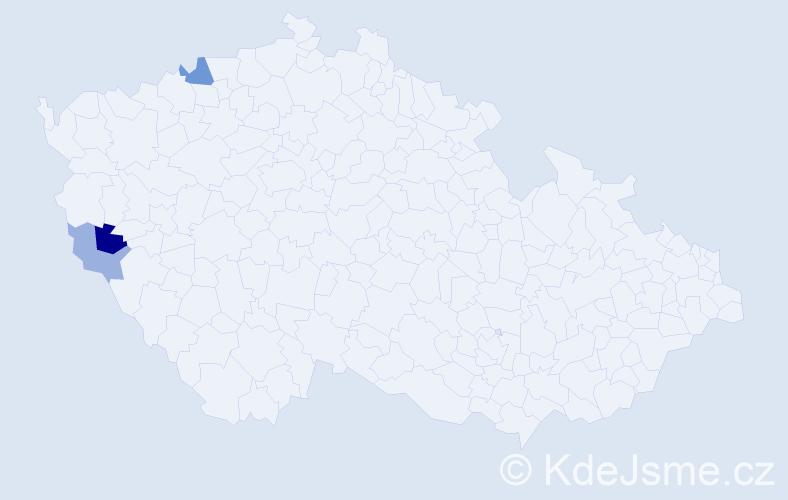 Příjmení: 'Kaňjaková', počet výskytů 5 v celé ČR