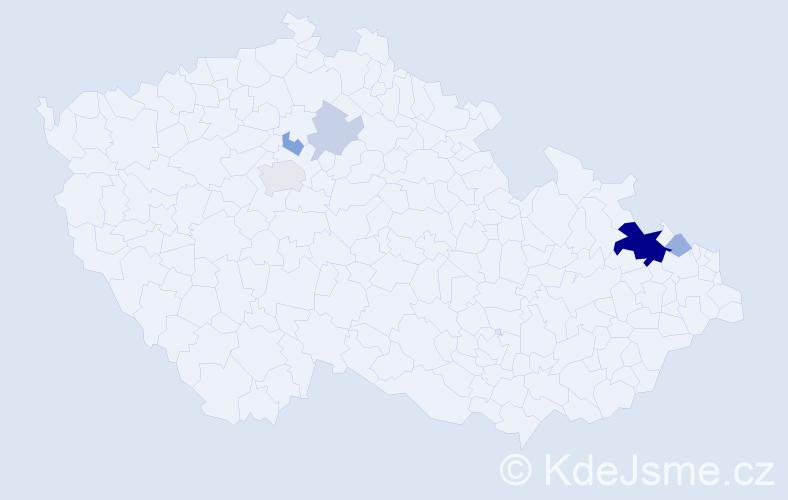 Příjmení: 'Haim', počet výskytů 16 v celé ČR