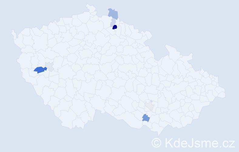 Příjmení: 'Čabová', počet výskytů 11 v celé ČR