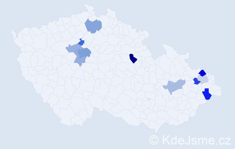 Příjmení: 'Diamant', počet výskytů 22 v celé ČR