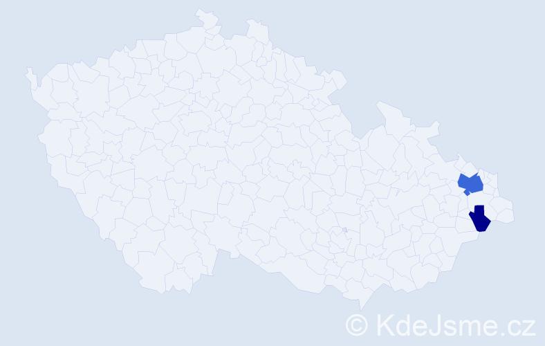 Příjmení: 'Faferková', počet výskytů 6 v celé ČR