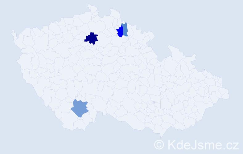 Příjmení: 'Enklerová', počet výskytů 10 v celé ČR