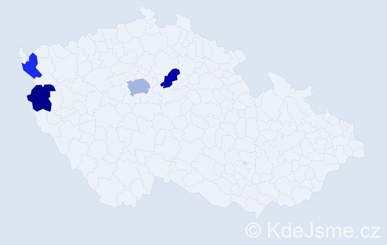 Příjmení: 'Bobíková', počet výskytů 6 v celé ČR