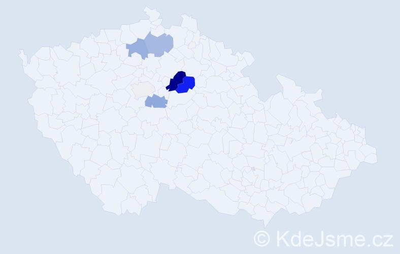 Příjmení: 'Caňkář', počet výskytů 18 v celé ČR