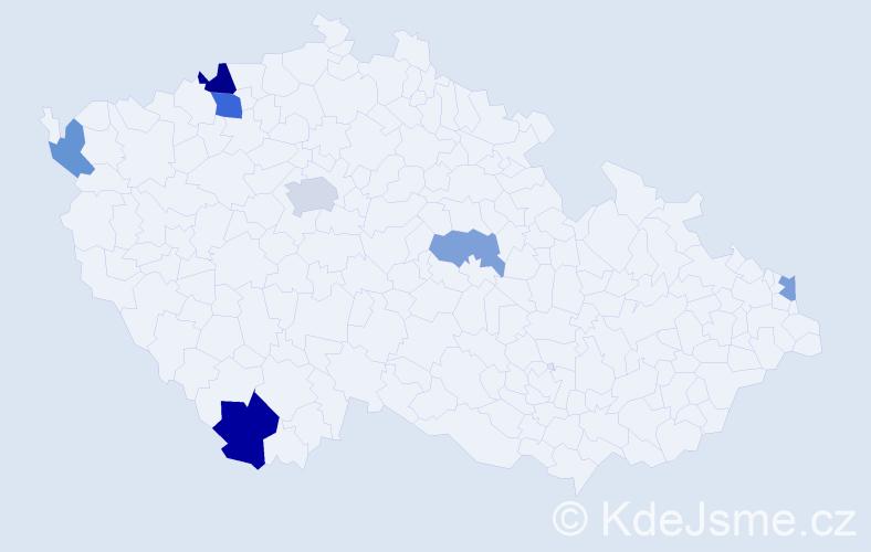 Příjmení: 'Čomor', počet výskytů 11 v celé ČR