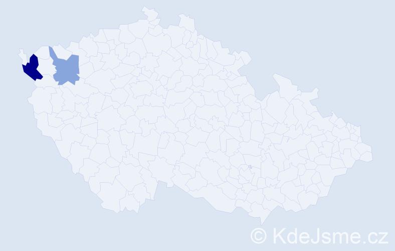 Příjmení: 'Dellingerová', počet výskytů 12 v celé ČR
