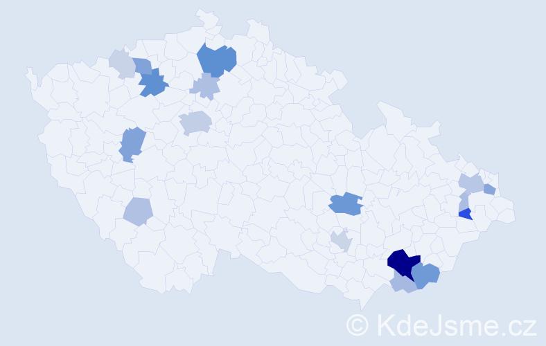 Příjmení: 'Huráb', počet výskytů 60 v celé ČR