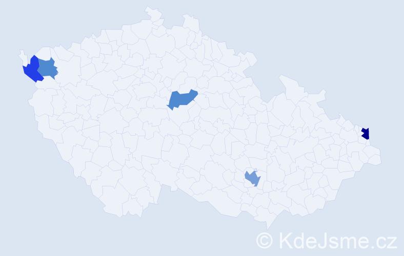 Příjmení: 'Ibolyová', počet výskytů 7 v celé ČR