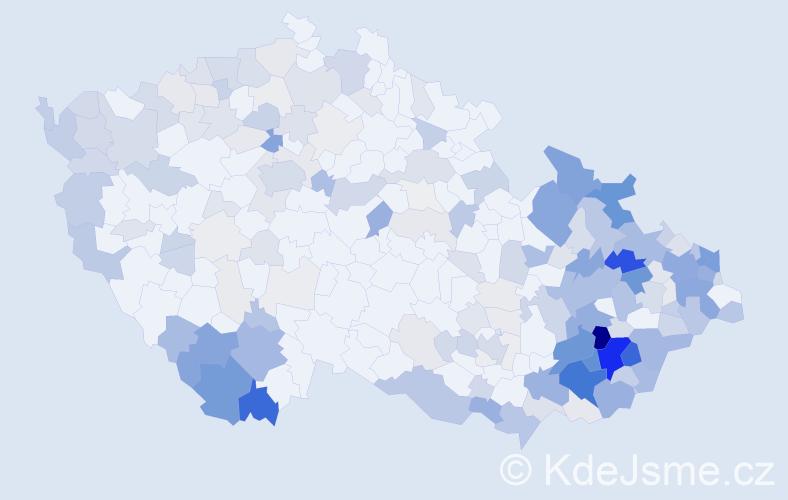 Příjmení: 'Jurčíková', počet výskytů 814 v celé ČR