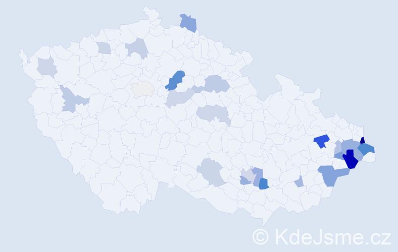 Příjmení: 'Gach', počet výskytů 46 v celé ČR
