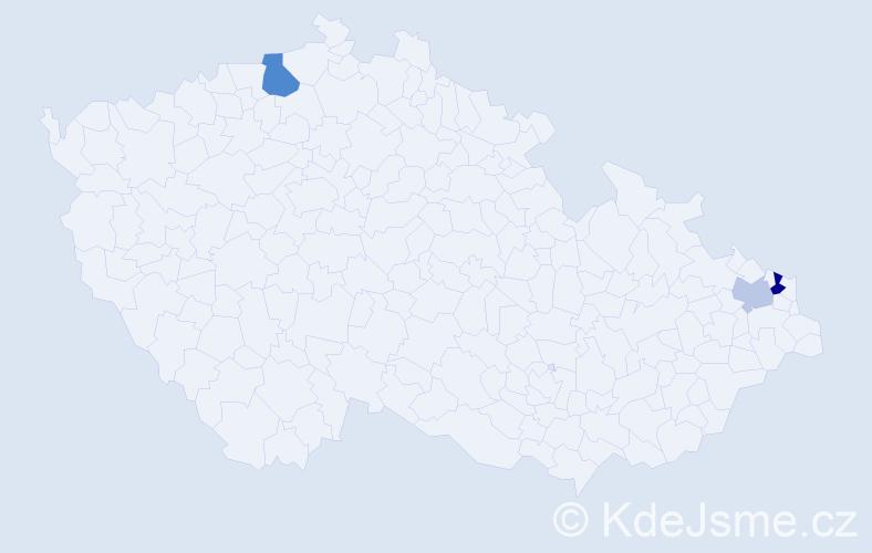 Příjmení: 'Czujková', počet výskytů 5 v celé ČR