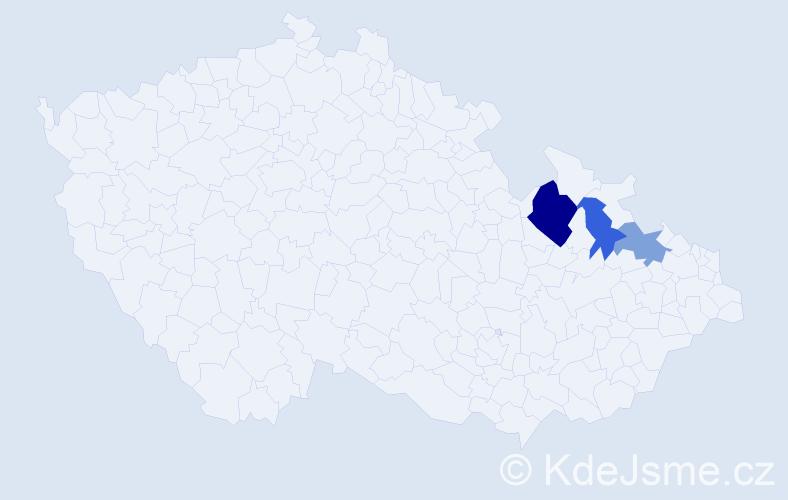 Příjmení: 'Karwacký', počet výskytů 5 v celé ČR