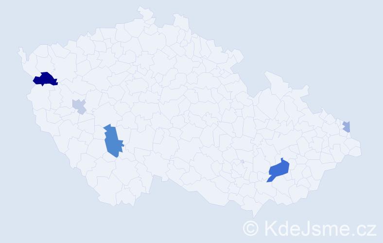 Příjmení: 'Ladická', počet výskytů 9 v celé ČR