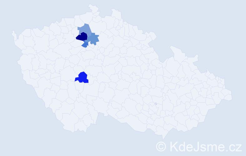 Příjmení: 'Fiksl', počet výskytů 6 v celé ČR
