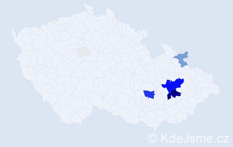 Příjmení: 'Hutečka', počet výskytů 18 v celé ČR