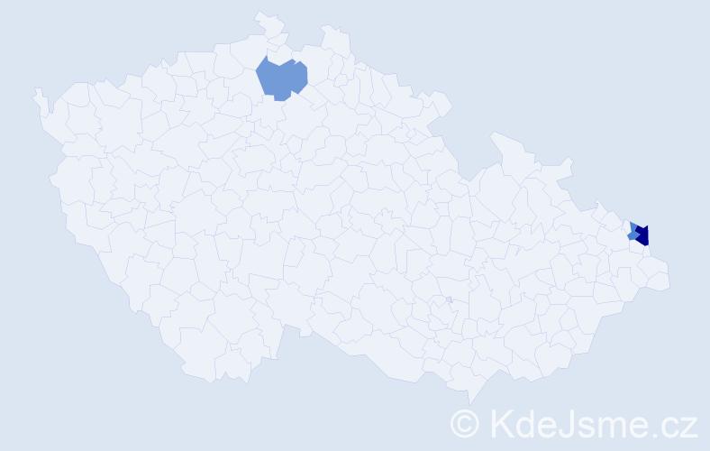 Příjmení: 'Kozaczka', počet výskytů 5 v celé ČR