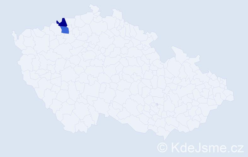 Příjmení: 'Čidlová', počet výskytů 6 v celé ČR