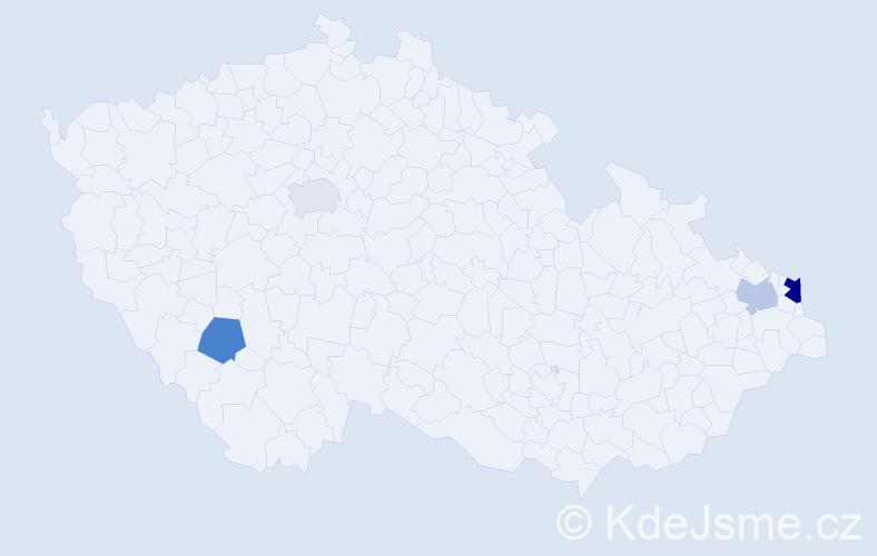 Příjmení: 'Ištoňová', počet výskytů 7 v celé ČR
