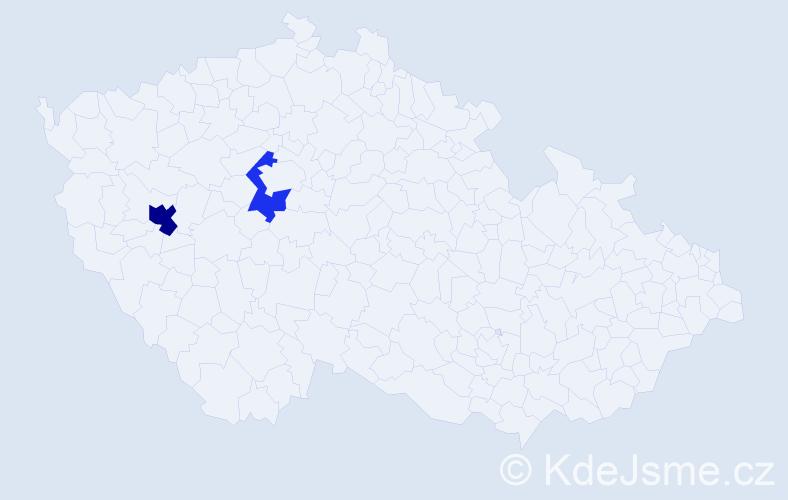 Příjmení: 'Jastraban', počet výskytů 3 v celé ČR