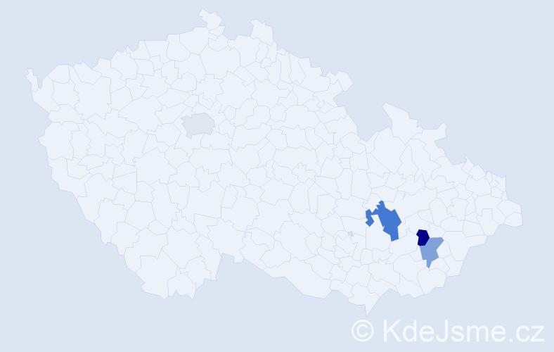 Příjmení: 'Babei', počet výskytů 5 v celé ČR