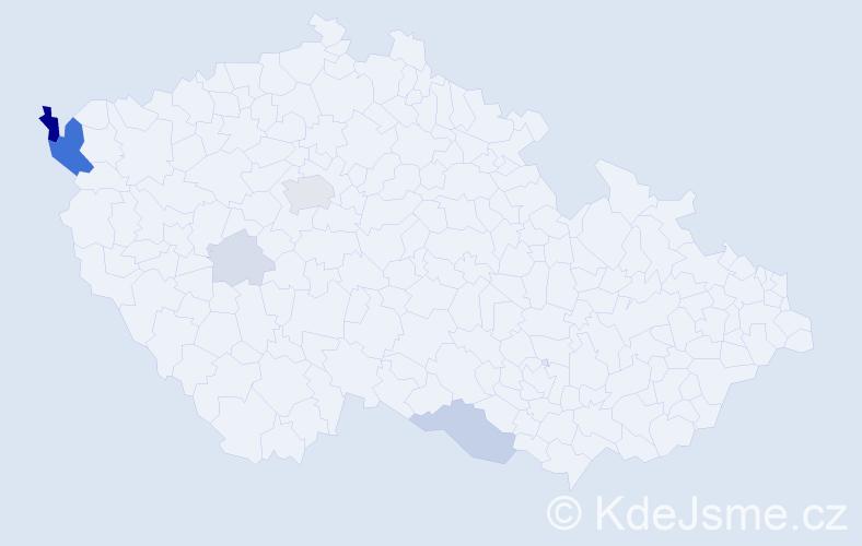 Příjmení: 'Caran', počet výskytů 21 v celé ČR