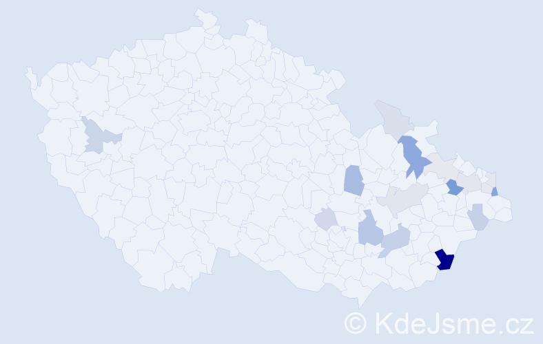 Příjmení: 'Jurčaga', počet výskytů 44 v celé ČR