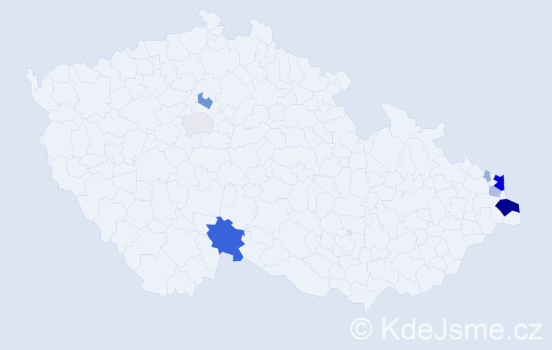 Příjmení: 'Hudziec', počet výskytů 34 v celé ČR