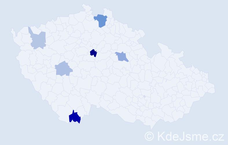 Příjmení: 'Haburaj', počet výskytů 12 v celé ČR