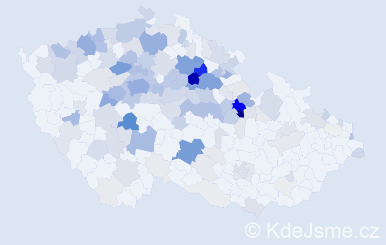 Příjmení: 'Kubišta', počet výskytů 725 v celé ČR