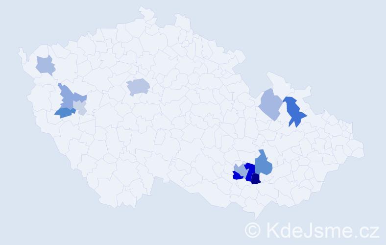 Příjmení: 'Hanika', počet výskytů 27 v celé ČR
