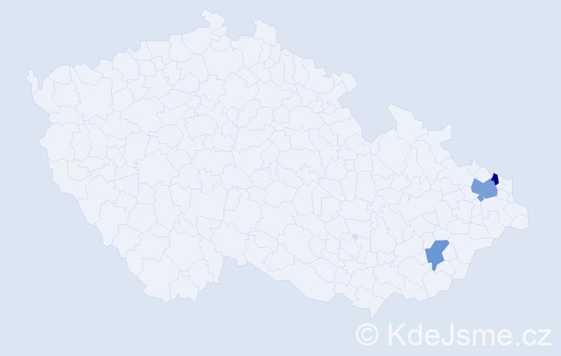 Příjmení: 'Kočiková', počet výskytů 4 v celé ČR