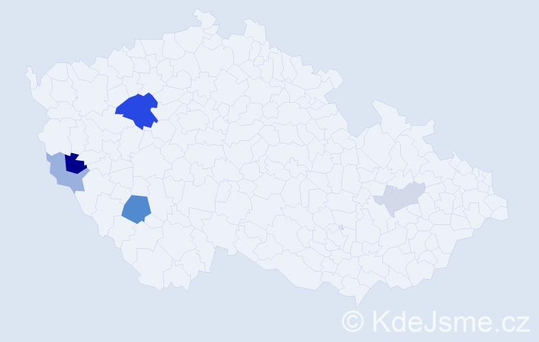 Příjmení: 'Hollar', počet výskytů 12 v celé ČR