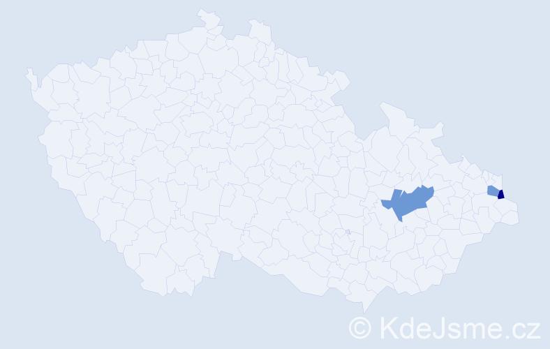 Příjmení: 'Ćwiertková', počet výskytů 7 v celé ČR