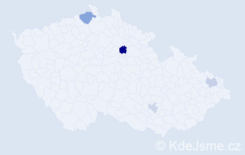 Příjmení: 'Kapitančiková', počet výskytů 4 v celé ČR