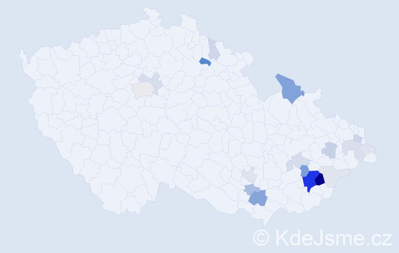 Příjmení: 'Jasenský', počet výskytů 75 v celé ČR