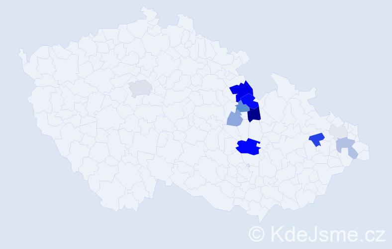 Příjmení: 'Klekar', počet výskytů 33 v celé ČR