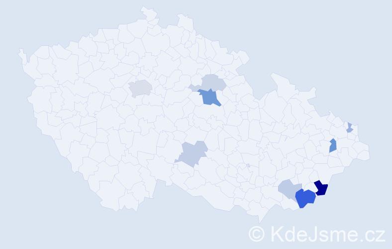 Příjmení: 'Krovina', počet výskytů 21 v celé ČR