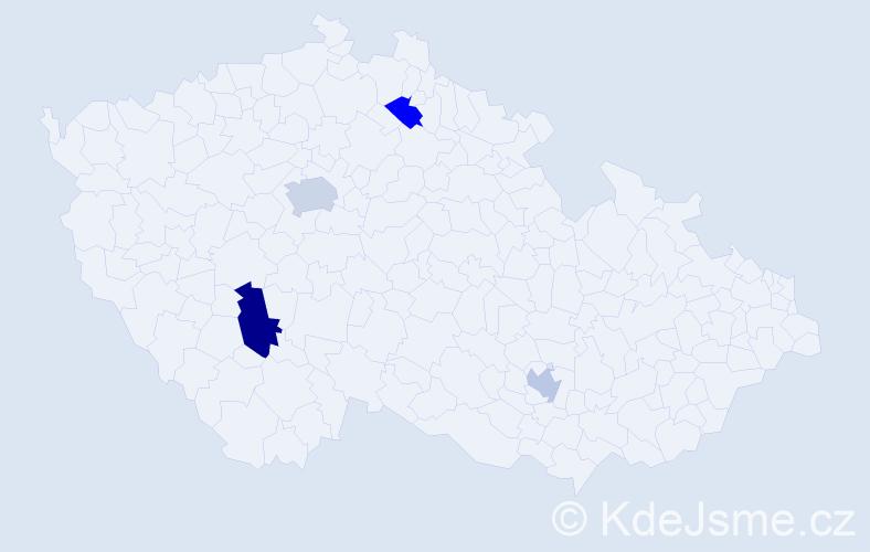 Příjmení: 'Čerňa', počet výskytů 6 v celé ČR