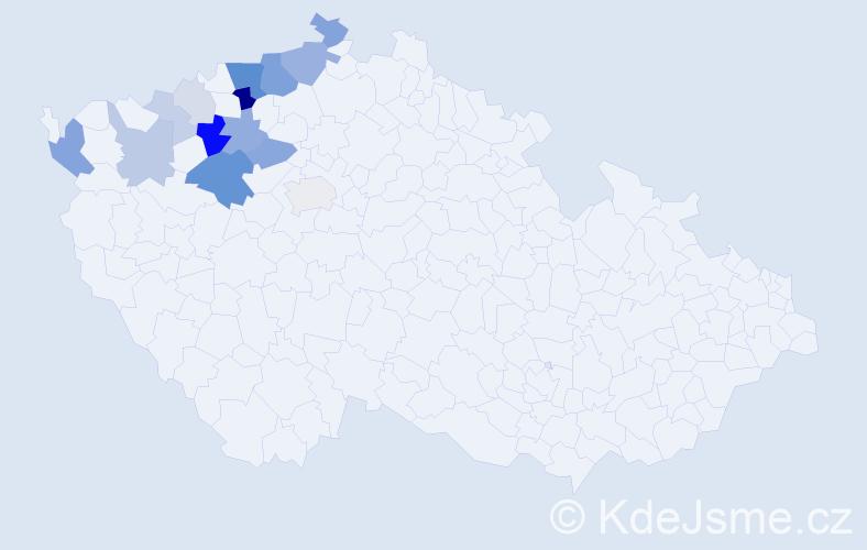 Příjmení: 'Čečrle', počet výskytů 48 v celé ČR