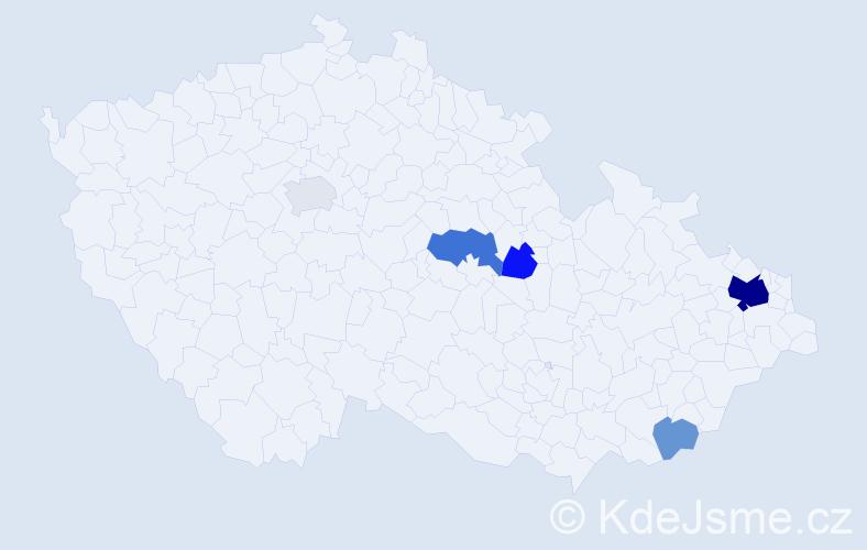 Příjmení: 'Čajčíková', počet výskytů 15 v celé ČR