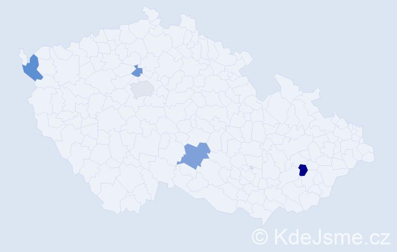 Příjmení: 'Čeryová', počet výskytů 9 v celé ČR