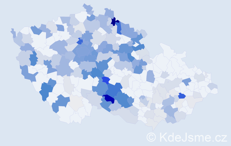 Příjmení: 'Jakoubková', počet výskytů 705 v celé ČR