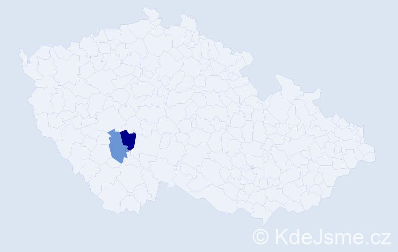 Příjmení: 'Kadař', počet výskytů 2 v celé ČR