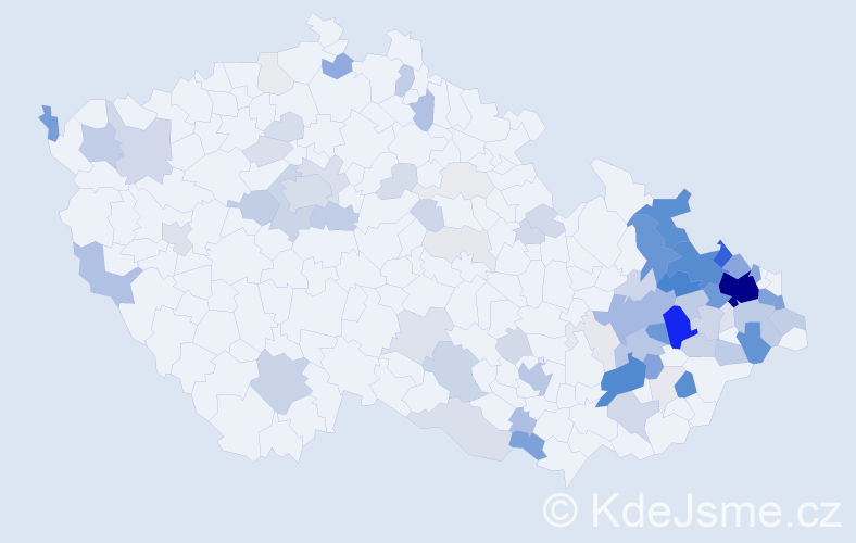 Příjmení: 'Bajgar', počet výskytů 374 v celé ČR