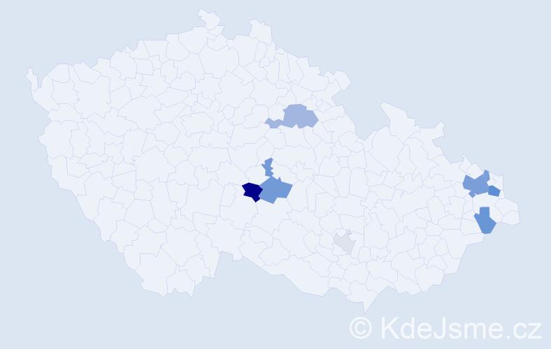 Příjmení: 'Halagačka', počet výskytů 20 v celé ČR