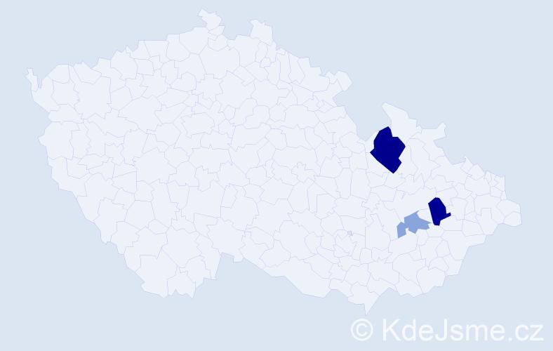 Příjmení: 'Balódy', počet výskytů 7 v celé ČR