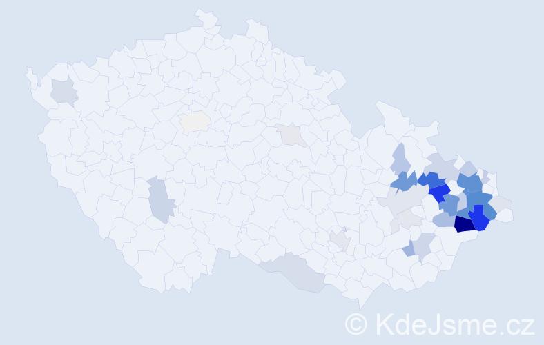 Příjmení: 'Krhut', počet výskytů 148 v celé ČR