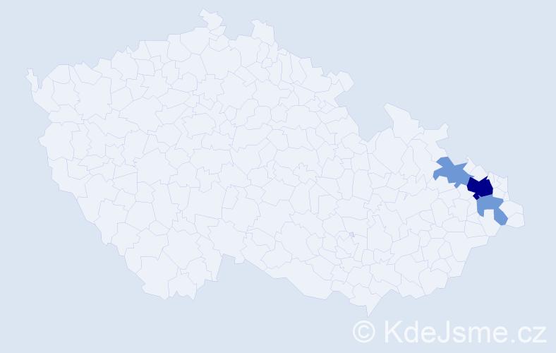 Příjmení: 'Cion', počet výskytů 9 v celé ČR