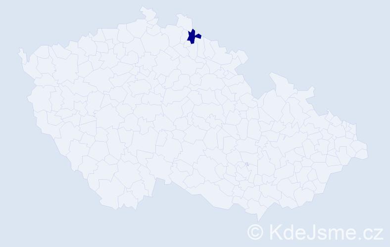 Příjmení: 'Hapuňáková', počet výskytů 1 v celé ČR